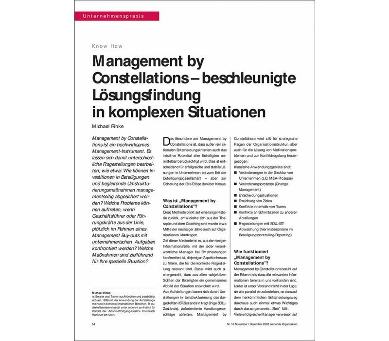 Management by Constellations – beschleunigte Lösungsfindung in komplexen Situationen