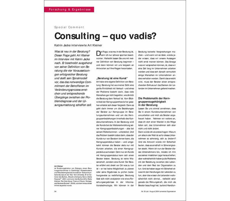 Consulting – quo vadis?