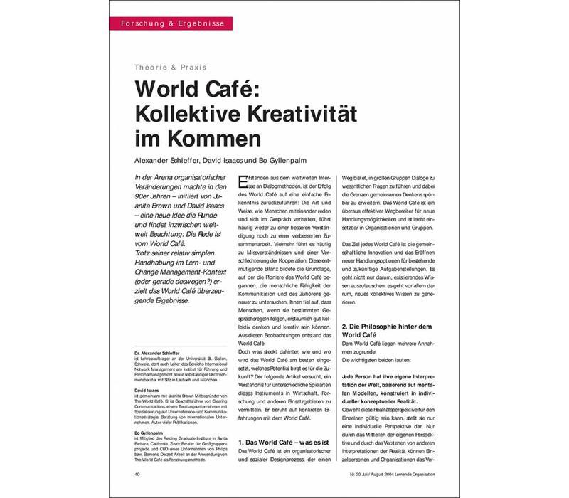 World Café: Kollektive Kreativität im Kommen