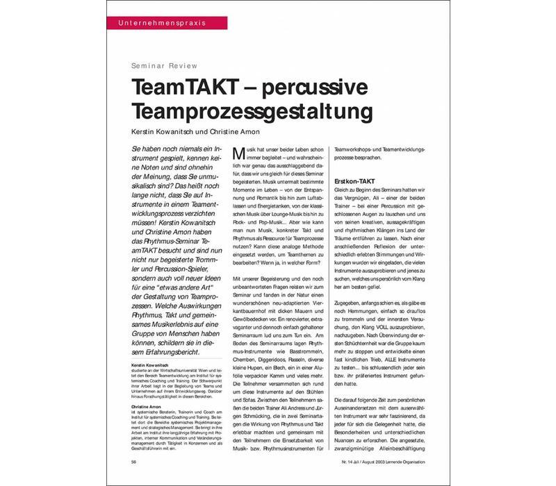 TeamTAKT – percussive Teamprozessgestaltung