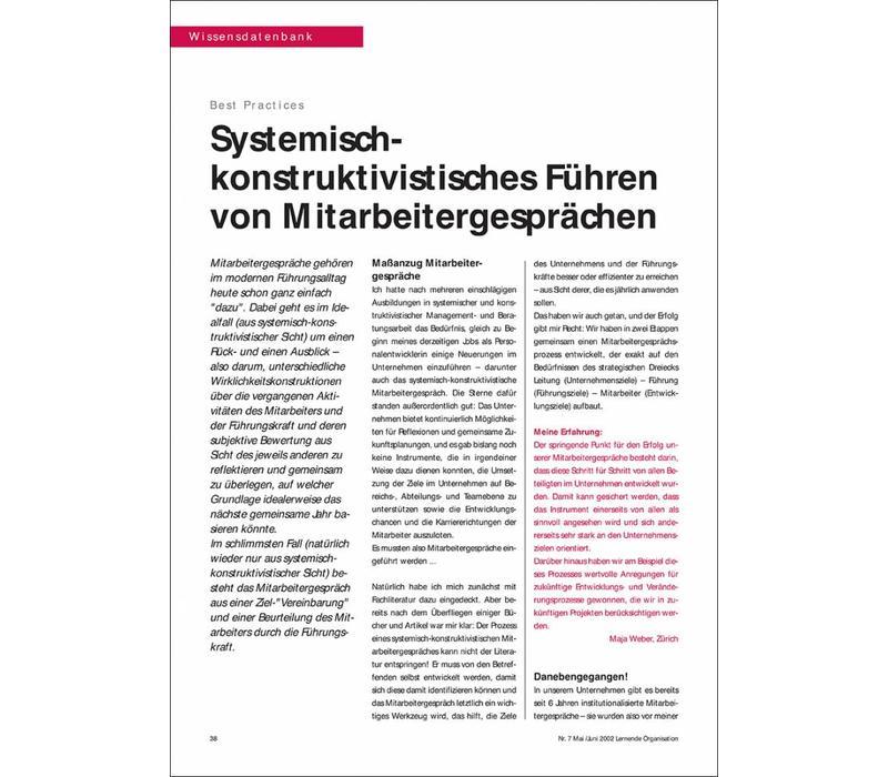 Systemischkonstruktivistisches Führen von Mitarbeitergesprächen