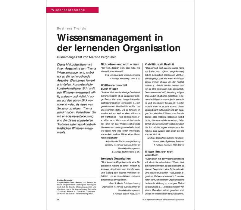Wissensmanagement in der lernenden Organisation