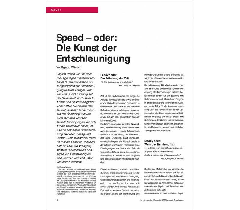 Speed – oder: Die Kunst der Entschleunigung