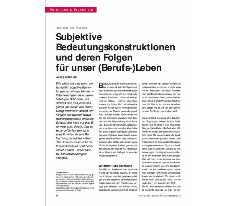 Subjektive Bedeutungskonstruktionen und deren Folgen für unser (Berufs-)Leben