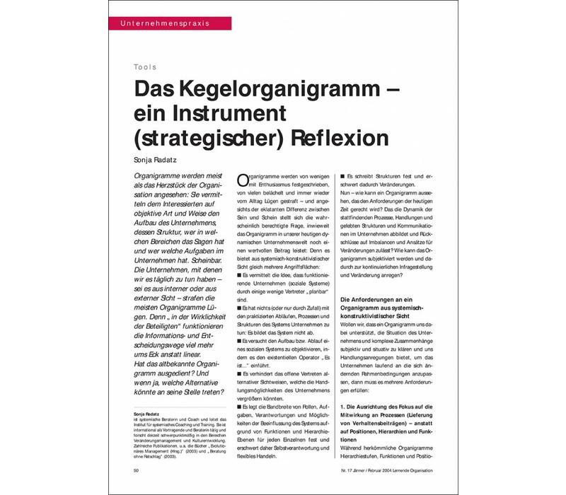 Das Kegelorganigramm – ein Instrument (strategischer) Reflexion