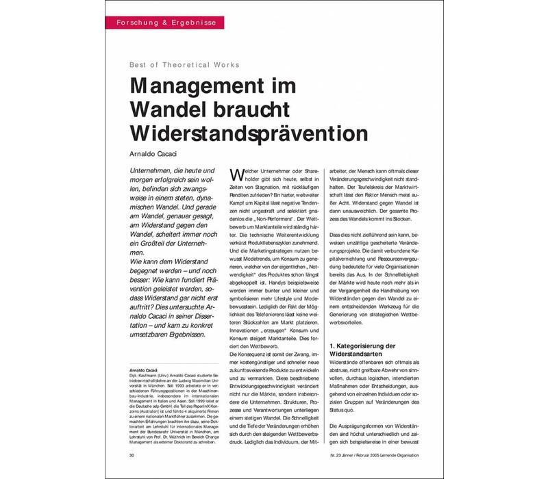 Management im Wandel braucht Widerstandsprävention