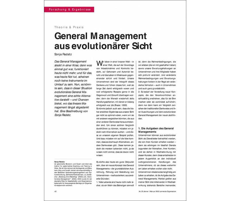 General Management aus evolutionärer Sicht