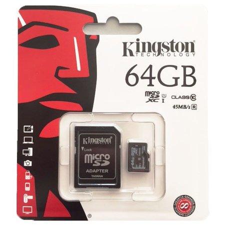 Kingston Micro SD kaart 64GB class 10 45Mb/s lees