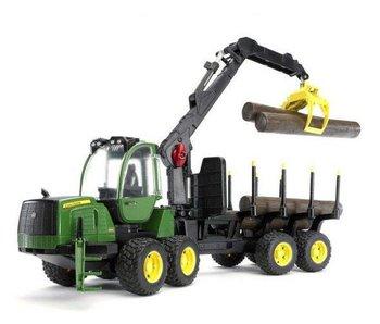 Bruder 2133 - John Deere 1210E Bosbouw Tractor met vier boomstammen