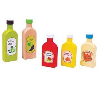 Flesjes saus, olie en azijn - 5 stuks