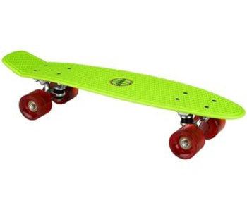 Nijdam Nijdam Plastic Skateboard 22.5q b LED wielen Fluorgroen/Rood