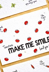 Kaart met groentezaadjes - make me smile