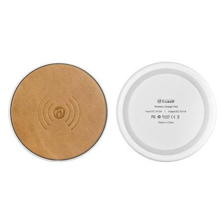 ICARER ICARER Genuine Lederen Qi Draadloze Oplader Pad (Fast Charging) - Bruin