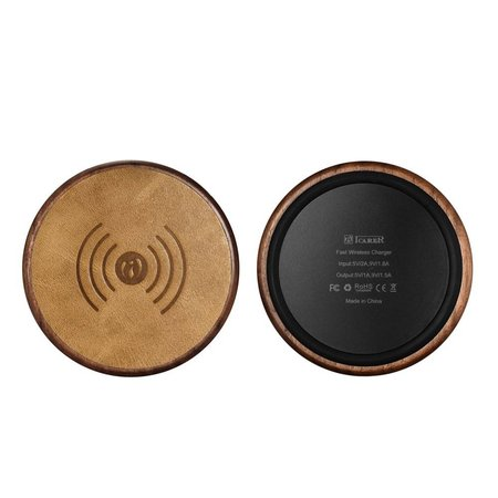 ICARER ICARER Houten Qi Draadloze Oplader Pad (Fast Charging) - Donkerbruin