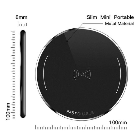 Metalen Draadloze Oplader (Snellader) - Zwart