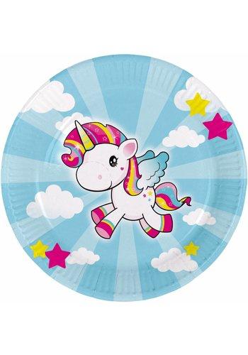 Unicorn bordjes 23cm - 8 stuks