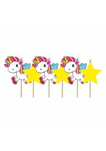 Unicorn kaarsjes - 6 stuks