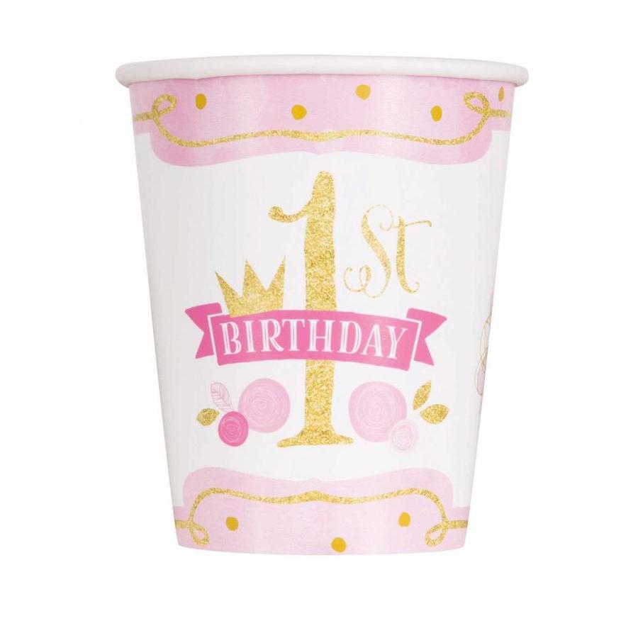 1st Birthday pink & Gold bekertjes 250ml - 8 stuks-1