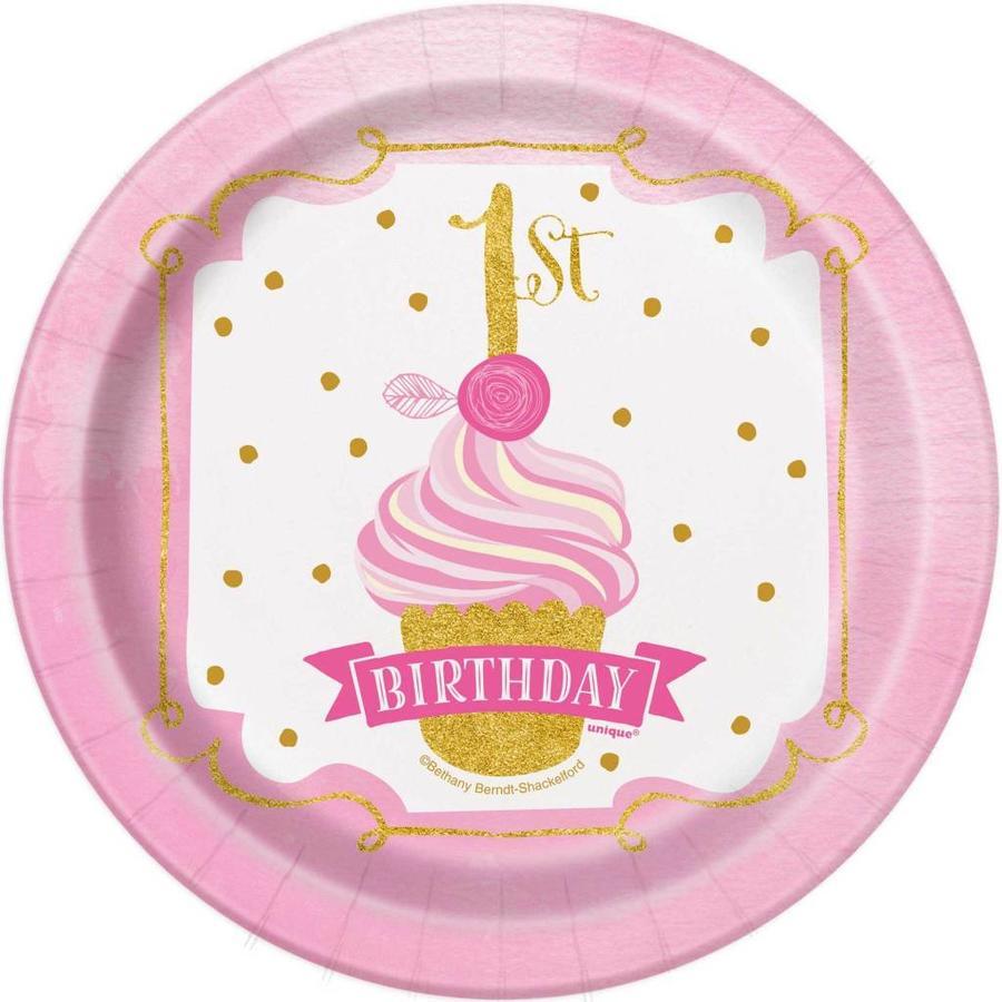 1st Birthday pink & Gold bordjes 18cm - 8 stuks-1