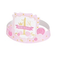 thumb-1st Birthday pink & Gold hoedjes - 6 stuks-1