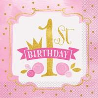 1st Birthday pink & Gold servetten 33x33cm - 16 stuks