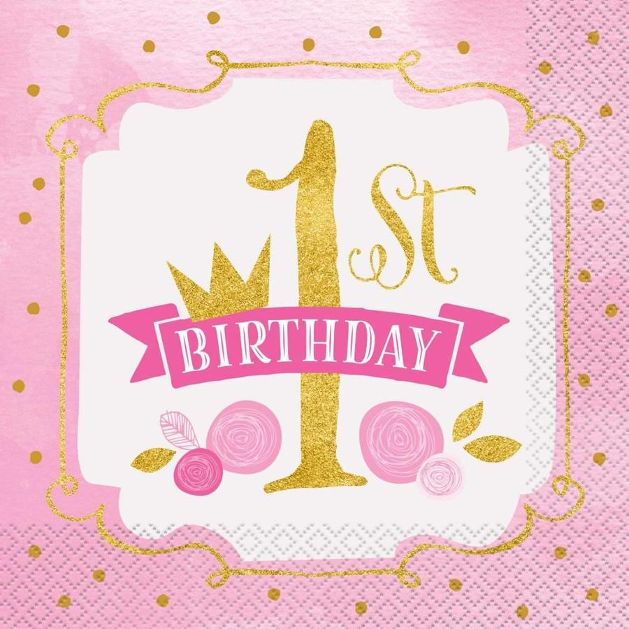 1st Birthday pink & Gold servetten 33x33cm - 16 stuks-1