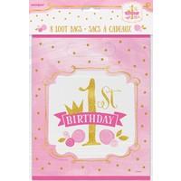 1st Birthday pink & Gold uitdeelzakjes - 8 stuks
