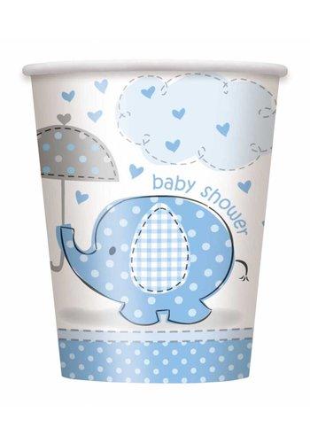 Babyshower olifantje boy bekertjes 250ml - 8 stuks