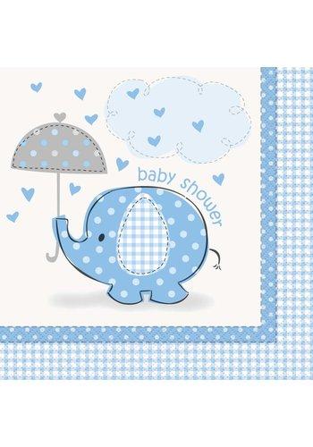 Babyshower olifantje boy servetten 33x33cm - 16 stuks