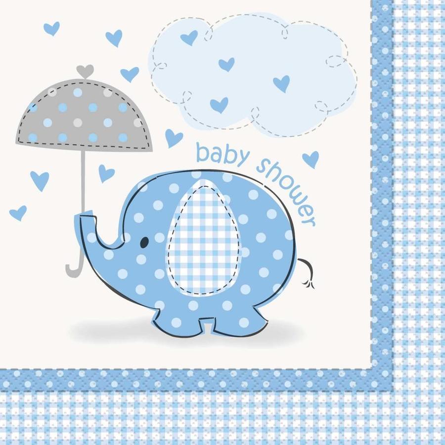 Babyshower olifantje boy servetten 33x33cm - 16 stuks-1