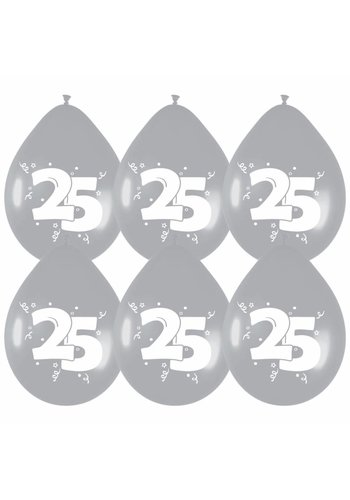 Ballonnen Zilver 25 - 6 stuks