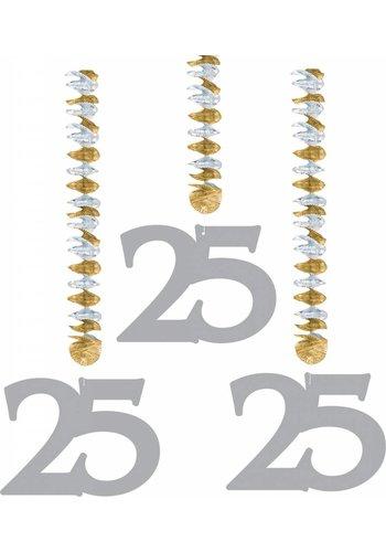 Hang Decoratie Zilver 25 - 3 stuks