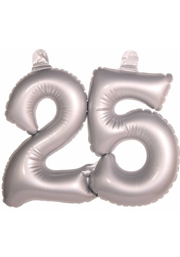 Opblaasbare cijfers 25 zilver - 45cm