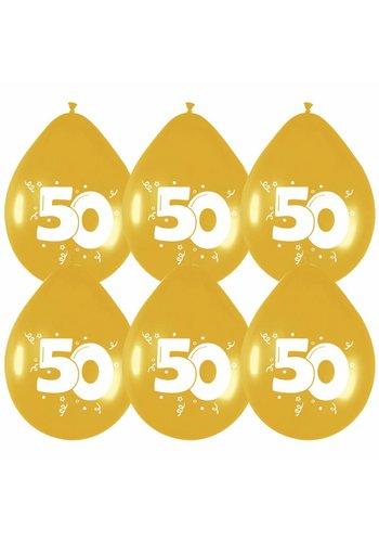 Ballonnen Goud 50 - 6 stuks