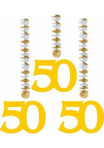 Hang Decoratie Goud 50 - 3 stuks