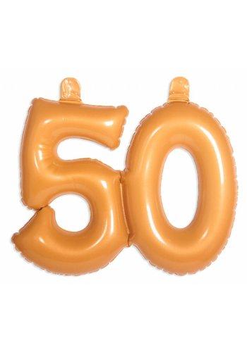 Opblaasbare cijfers 50 Goud - 45cm