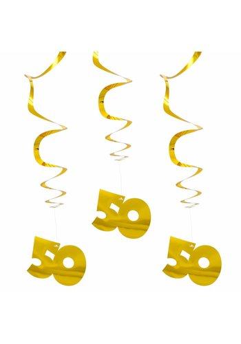 Swirl Decoratie Goud 50 - 3 stuks
