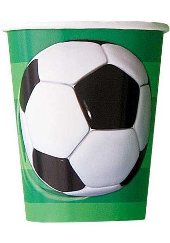 Voetbal bekertjes 250ml - 8 stuks
