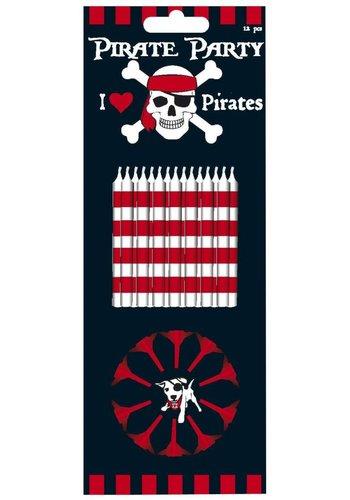 Piraten kaarsjes - 12 stuks