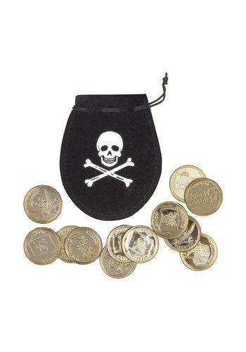 Piratenzakje met 12 gouden munten