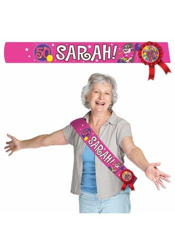Sarah sjerp met rozet