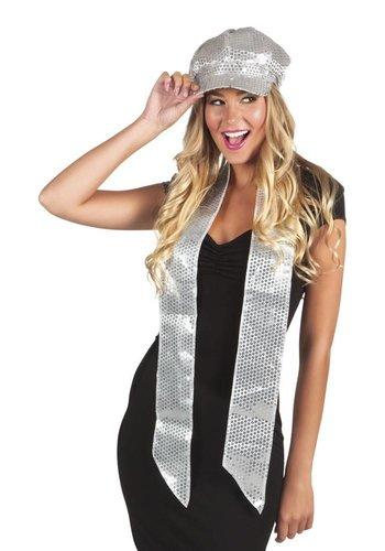 Glitter sjaaltje - Zilver - 170x9cm