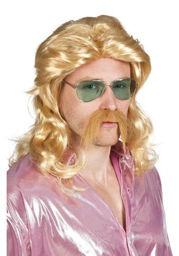 Pruik Barry met Snor - Blond