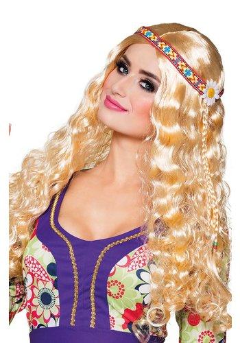 Pruik Hippie met Hoofdband - Blond