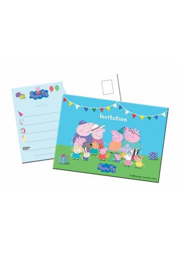 Peppa Pig uitnodigingen - 8 stuks