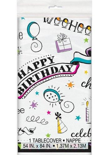 Doodle Birthday tafelkleed 140x214cm