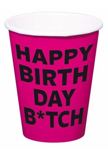 Happy Birthday B*tch bekertjes 350ml - 8 stuks