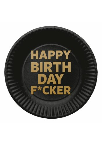 Happy Birthday F*cker bordjes 23cm - 8 stuks