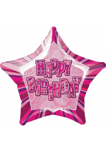 Pink Glitz folieballon Happy Birthday - 50cm