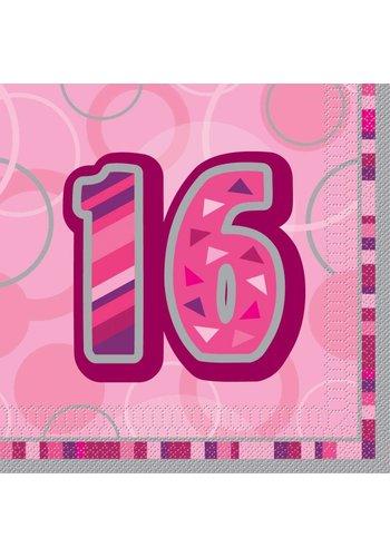 Pink Glitz servetten 16 - 33x33cm - 16 stuks